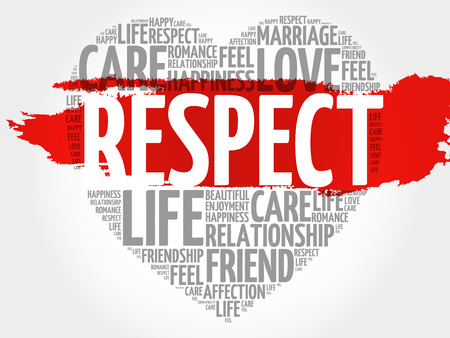 Respect word cloud collage, heart concept background