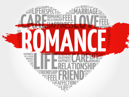Romance word cloud collage, heart concept background Illustration