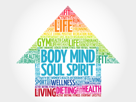 Body Mind Soul Spirit arrow word cloud, health concept Vectores