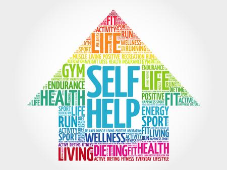 Self Help arrow word cloud, health concept