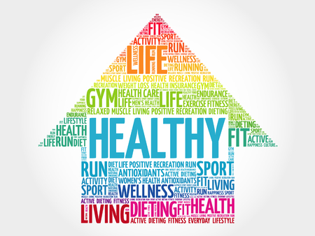HEALTHY arrow word cloud, health concept