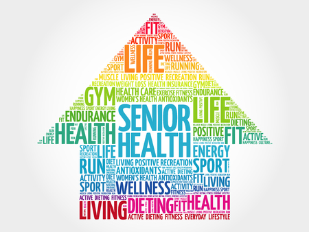 Senior health arrow word cloud, health concept