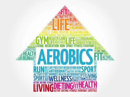 Aerobics arrow word cloud, health concept