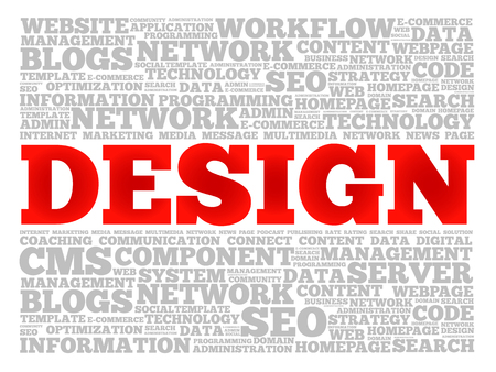 DESIGN word cloud collage, technology business concept background Illustration