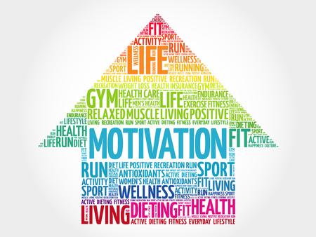 MOTIVATION arrow word cloud, health concept