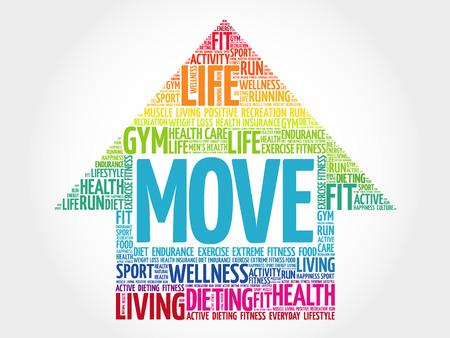 MOVE arrow word cloud, health concept