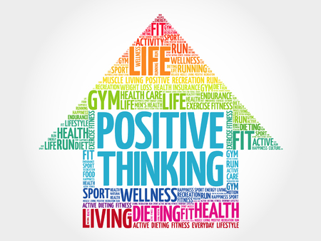 Positive thinking arrow word cloud, health concept Ilustrace