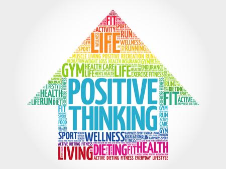 Positive thinking arrow word cloud, health concept Reklamní fotografie - 92686154