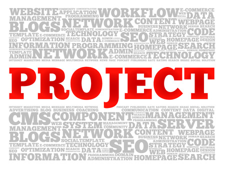 PROJECT word cloud collage, technology business concept background Vettoriali