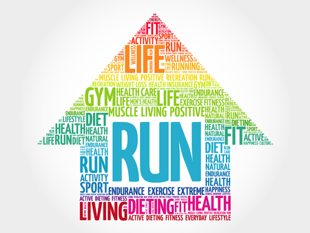 RUN arrow word cloud, health concept