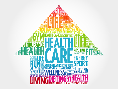 Health care arrrow word cloud, health concept Çizim