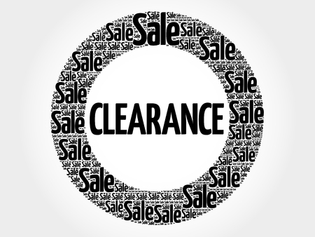 Clearance circle stamp word cloud, business concept Illustration