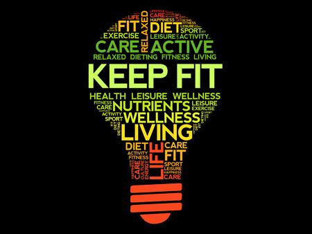 KEEP FIT bulb word cloud, health concept Illustration