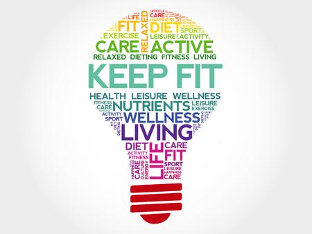 KEEP FIT bulb word cloud, health concept Vectores
