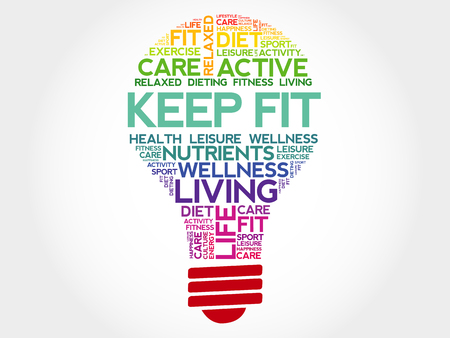 KEEP FIT bulb word cloud, health concept Vettoriali