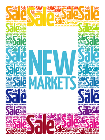 New Markets words cloud, business concept background