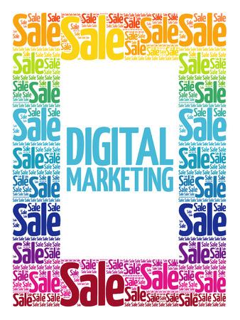 Digital Marketing words cloud, business concept background Illustration