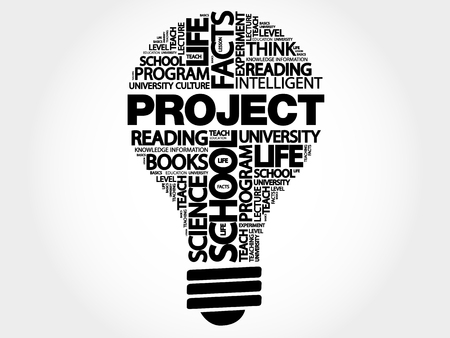 PROJECT bulb word cloud, business concept