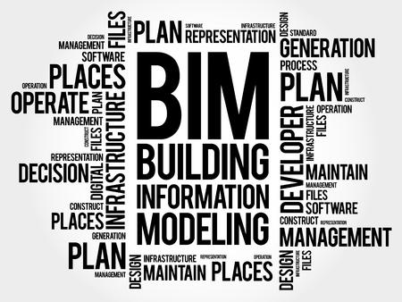 BIM - 건물 정보 모델링 단어 구름, 비즈니스 개념 그림입니다.