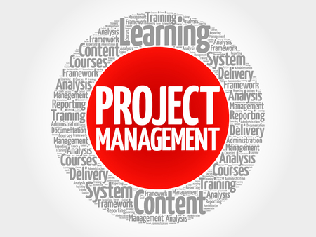 Project Management circle word cloud, business concept. Illustration