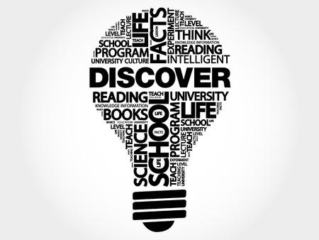 DISCOVER bulb word cloud, business concept illustration. Иллюстрация