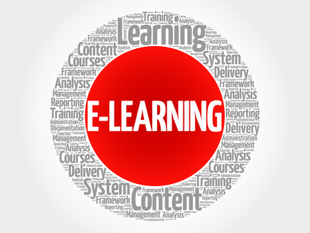 E-LEARNING circle word cloud, business concept illustration.