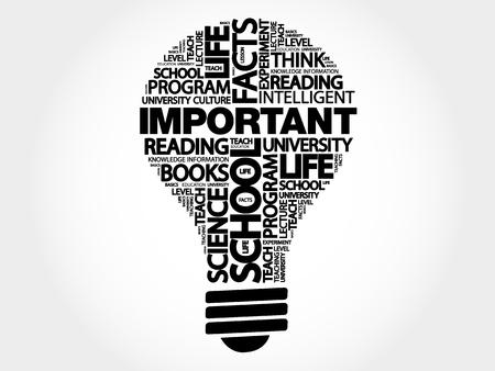 IMPORTANT bulb word cloud, business concept illustration.