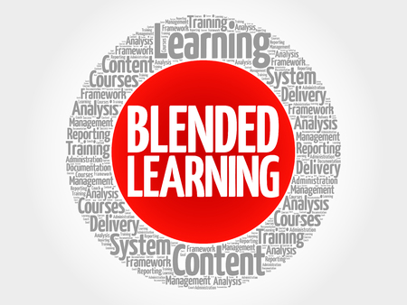 Blended Learning circle word cloud, business concept Stok Fotoğraf - 94439791