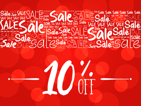 10% OFF Sale words cloud, business concept background