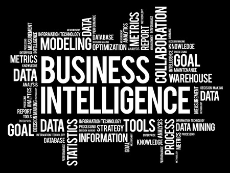 Business intelligence word cloud collage, business concept background Illustration