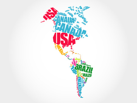 America Map in Typography word cloud concept, names of countries