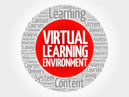 Virtual Learning Environment circle word cloud, business concept Vectores