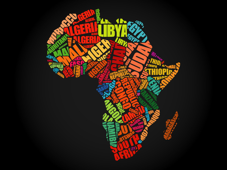 African countries Map in Typography word cloud concept, names of countries Illustration