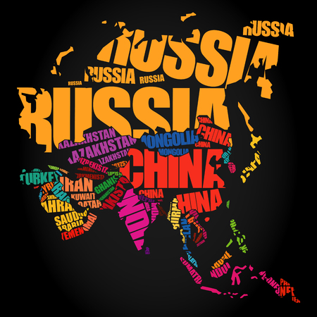 Asia Map in Typography word cloud concept, names of countries