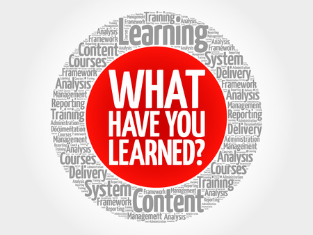 What Have You Learned? circle word cloud, business concept