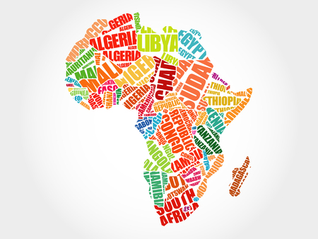 African countries Map in Typography word cloud concept, names of countries Vettoriali