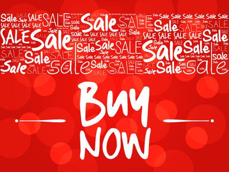 BUY NOW sale words cloud, business concept background