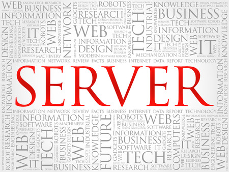 SERVER word cloud collage, technology business concept vector illustration