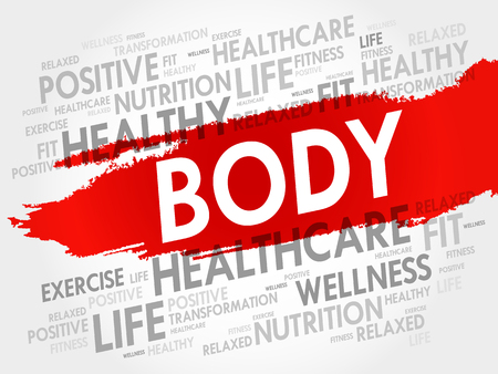 BODY word cloud collage, health concept vector illustration