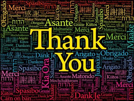 Thank You word cloud in different languages, concept vector illustration