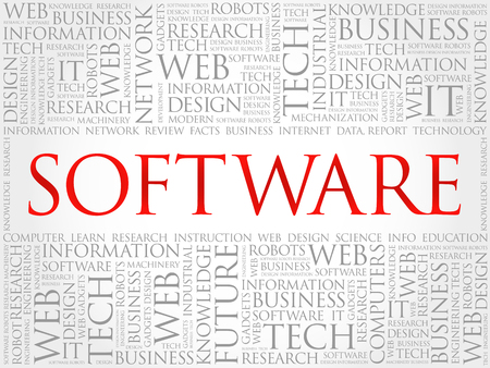 Software word cloud collage, business concept background Illustration