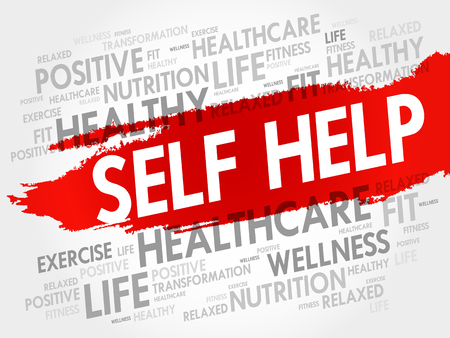 Self Help word cloud background, health concept Illustration