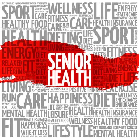 Senior health word cloud background, health concept Stock Illustratie