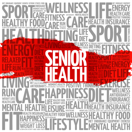 Senior health word cloud background, health concept Иллюстрация