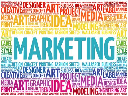 Maeketing word cloud, creative business concept background.