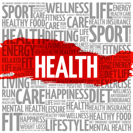 Health word cloud collage, fitness, sport, health concept.