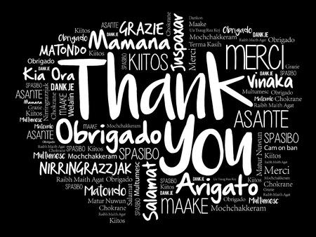 Danke, Wolke in den verschiedenen Sprachen, Konzepthintergrund abzufassen. Standard-Bild - 94684516