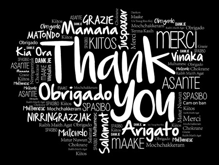 Thank you word cloud in different languages, concept background.