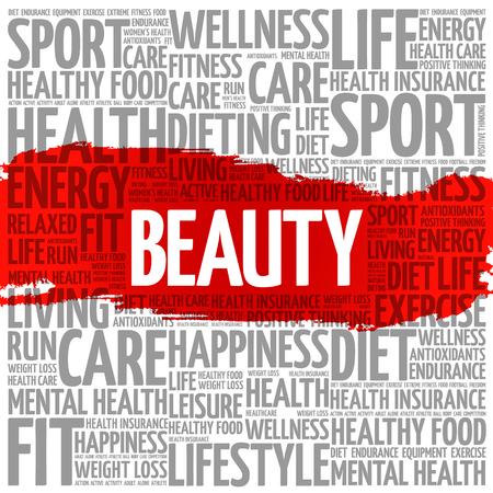 BEAUTY word cloud collage, health concept background