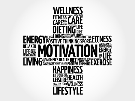 MOTIVATION word cloud, health cross concept. 矢量图像